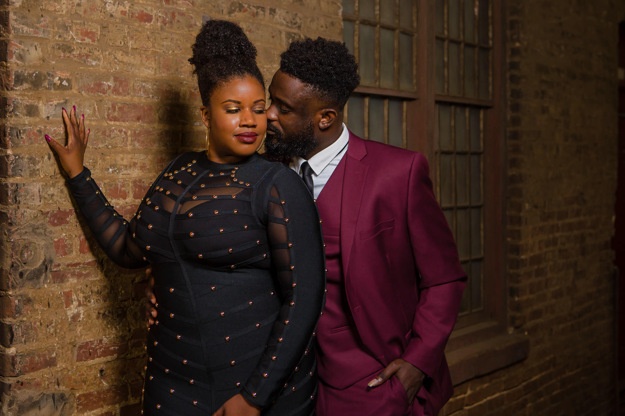 One of the best wedding photographers in Greenville SC portrait of African American couple during their engagement session