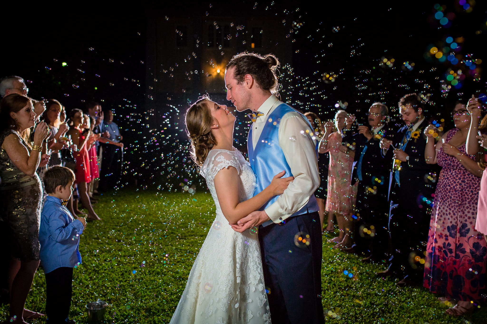 One of the best wedding photographers in Greenville SC photo of a bride and groom's bubble exit