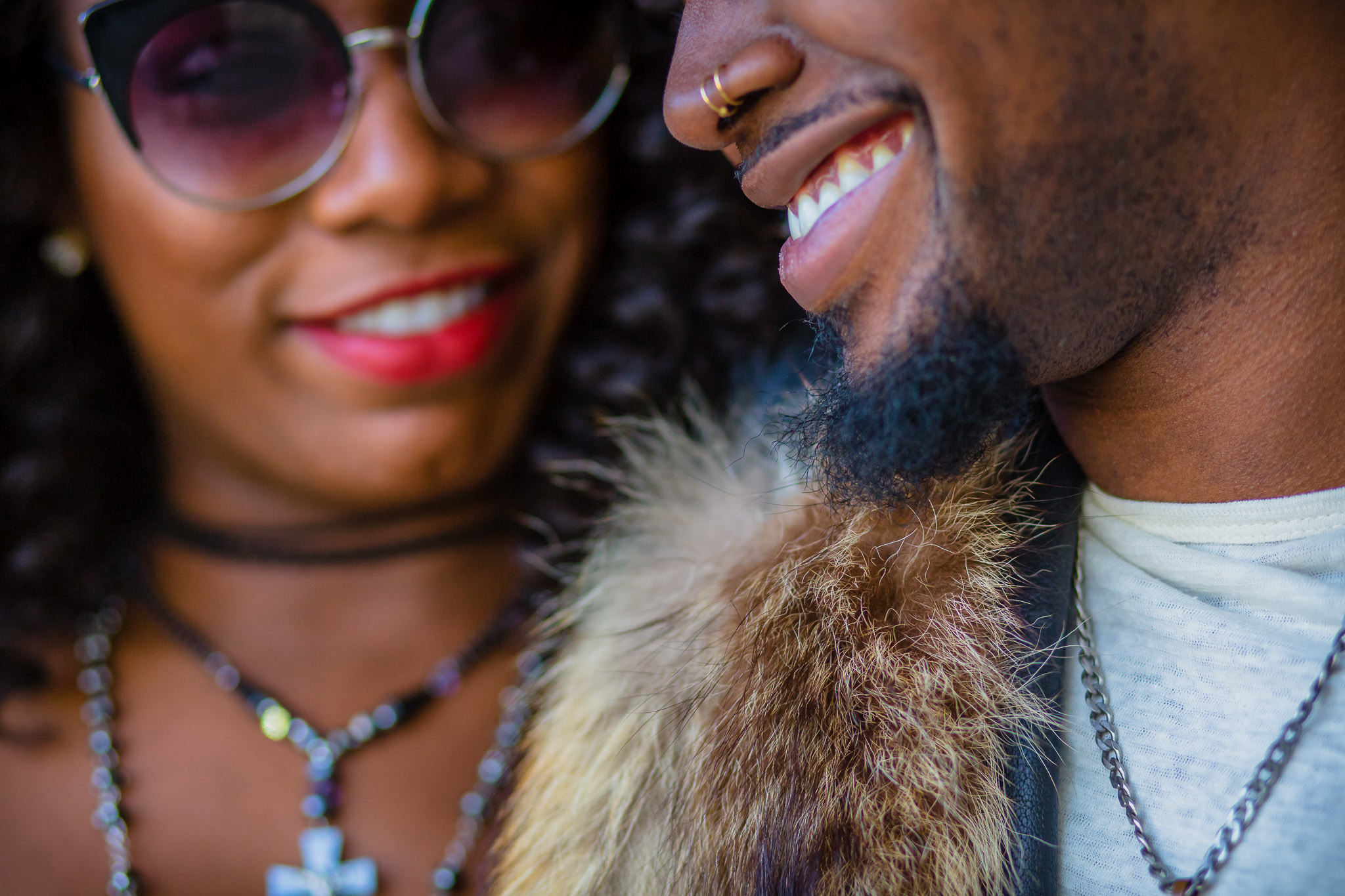 One of the best wedding photographers in Greenville SC photo of African American couple close up shot during their Plaza Midwood engagement session